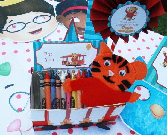 Add Crayons Coloring Pages And The Daniel Tiger Finger Puppet To Trolley Favor Box