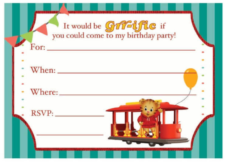 image regarding Invitations Printable referred to as Daniel Tiger Birthday Bash Invitation Youngsters PBS Little ones