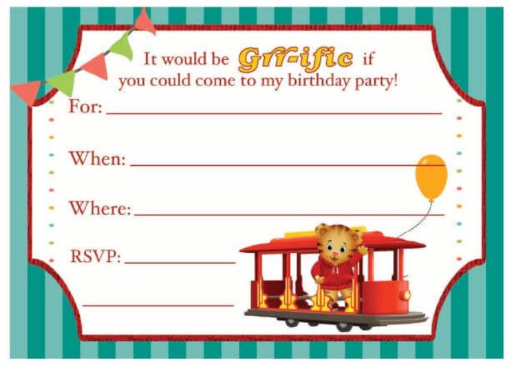 photo about Birthday Party Invitations Printable identified as Daniel Tiger Birthday Occasion Invitation Children PBS Children