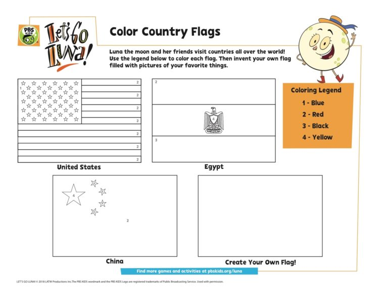 Color The Country Flags Coloring Page Kids… PBS KIDS For Parents