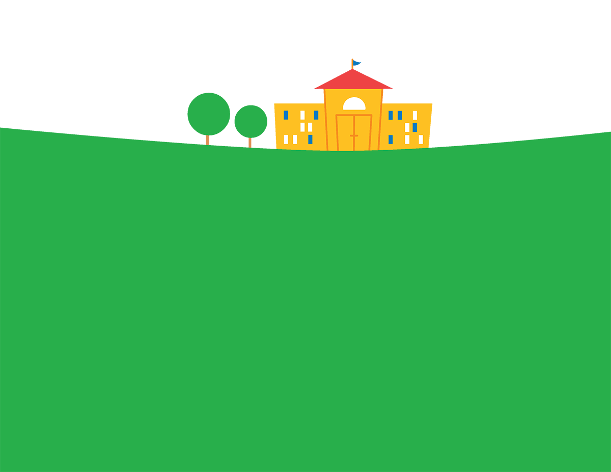 A school house sits on a hill ready to start the new year with you.