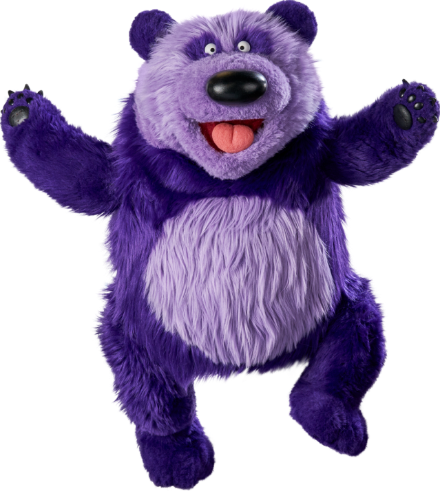 Purple panda a large purple panda jumps for joy.