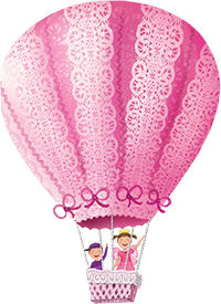 Pinkalicious and Peter fly in a pink hot air balloon.