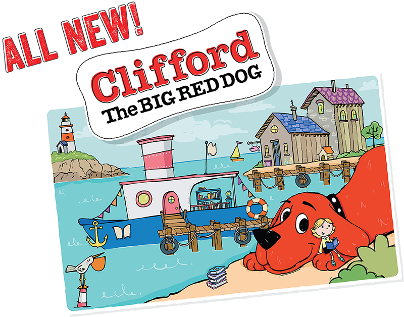A postcard of a lovely fishing town with Clifford smiling out at you!
