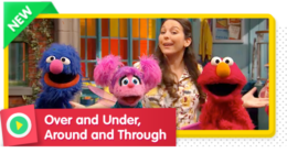 Elmo and his friends sing about directions to get through their homemade obstacle course.