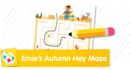 Ernie loves Autumn! Help him find his way through the pumpkins, apples and corn to get to the exit of the hay maze.
