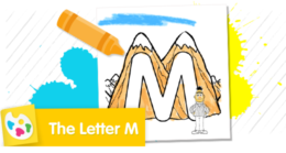 """""""M"""" stands for mountain. Color Bert standing beside tall mountains."""