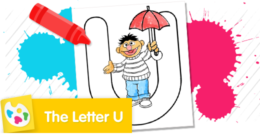 Color Bert holding an umbrella.