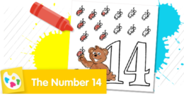Color Baby Bear counting 14 bugs.