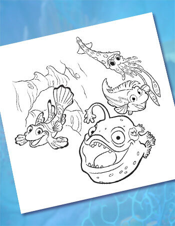 Bioluminescence in the Ocean Coloring Page
