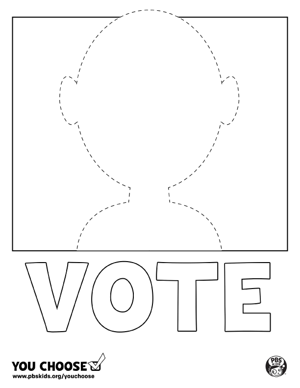 A smaller image of poster of a blank vote poster for you to color.