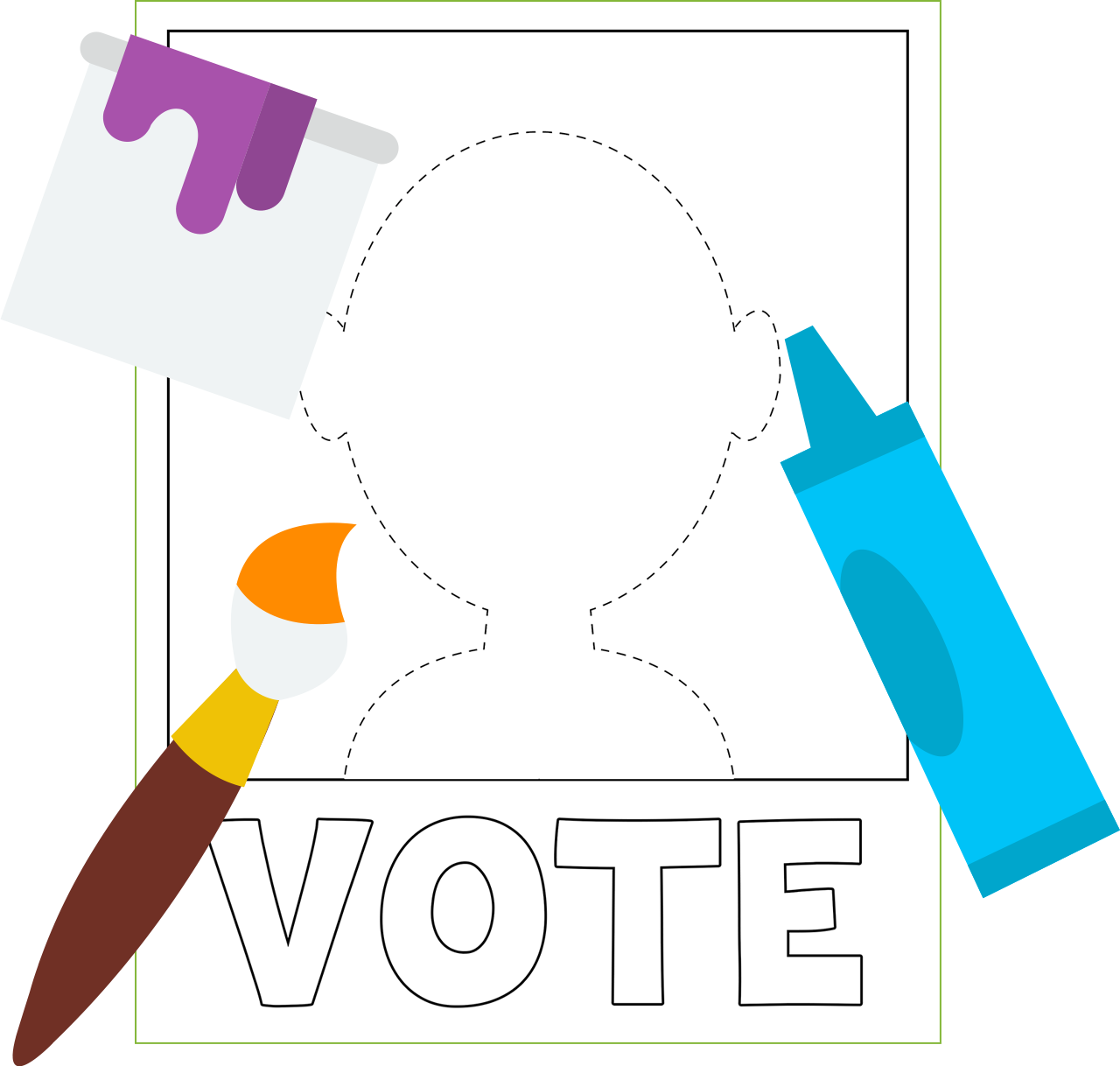 Poster of a blank vote poster for you to color.